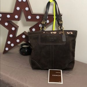 Coach suede embossed leather beaded brown purse